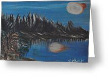 Two Moons That Meet In The Night Greeting Card