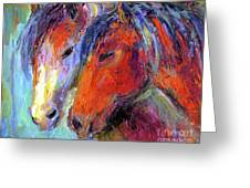 Two Mustang Horses Painting Greeting Card