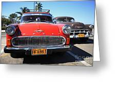 Two Old American Cars Greeting Card