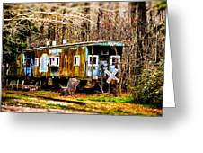 Two Old Cabooses Greeting Card