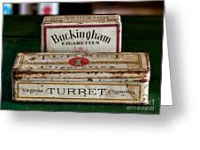 Two Old Cigarette Boxes Greeting Card