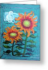 Two Orange Sunflowers Greeting Card