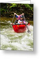 Two Paddlers In A Whitewater Canoe Making A Turn Greeting Card