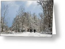 Two People Doing A Walk In Beautiful Forest In Winter Greeting Card by Matthias Hauser