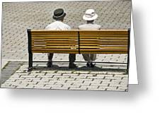 Two People Seated On A Bench Greeting Card