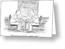 Two People Sit At A Table Greeting Card