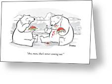 Two Polar Bears Eat Spaghetti And Meatballs.  One Greeting Card