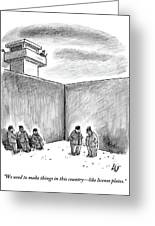 Two Prisoners Talk In The A Prison Yard Greeting Card