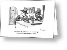 Two Puritan Men Sit At A Bar Together Greeting Card