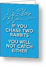 Two Rabbits Blue Greeting Card