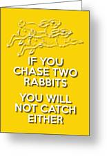 Two Rabbits Yellow Greeting Card