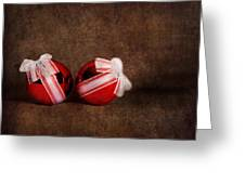 Two Red Ornaments Greeting Card