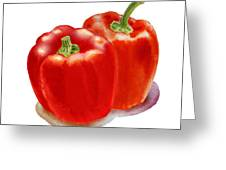 Two Red Peppers Greeting Card