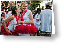 Two Red Tutus At Running Of The Bulls Greeting Card