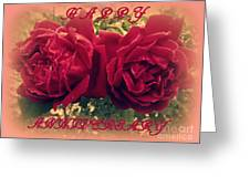 Two Roses. Happy Anniversary Greeting Card