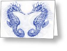 Two Seahorses- Blue Greeting Card
