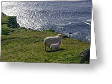 Two Sheep On The Cliffs At Sleive League - Donegal Ireland Greeting Card
