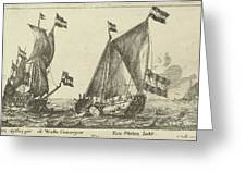 Two Ships A Statenjacht And An Interpreter Greeting Card