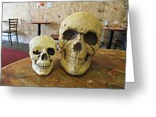 Two Skulls - At The Cafe Greeting Card