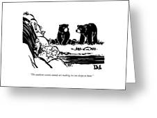 Two Sluggish Bears Converse By A Fish-filled Greeting Card