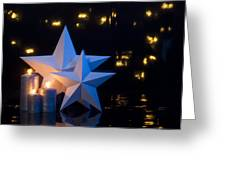 Two Stars In Front Of Dark Background Greeting Card