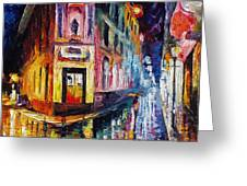 Two Streets - Palette Knife Oil Painting On Canvas By Leonid Afremov Greeting Card