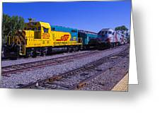 Two Trains Greeting Card