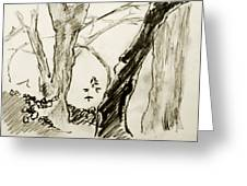Two Tree Drawing Greeting Card