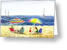 Two Umbrellas On The Beach California  Greeting Card