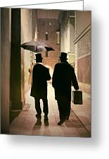 Two Victorian Men Wearing Top Hats In The Old Alley Greeting Card
