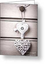Two Vintage Hearts Greeting Card by Jane Rix