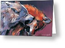 Two Wolves Greeting Card