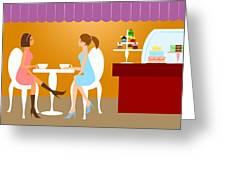 Two Woman Friends Having Coffee Greeting Card