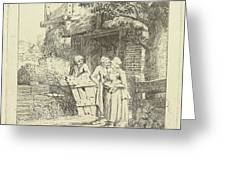 Two Women And A Man On A Farm, Print Maker Marie Lambertine Greeting Card