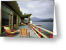 Two Women On The Deck Of A House On A Lake Greeting Card