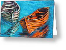 Two Wood Boats Greeting Card by Xueling Zou