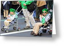 Two Young Girls Marching In The 2009 New York St. Patrick Day Parade Greeting Card