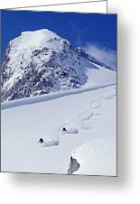 Two Young Men Skiing Untracked Powder Greeting Card