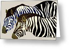 Two Zebras Greeting Card