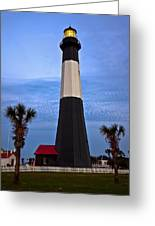 Tybee Light And Palms Greeting Card