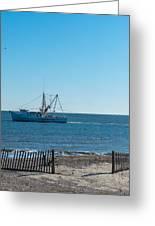 Tybee Shrimp Boat Greeting Card