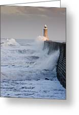 Tynemouth North Pier With Waves Greeting Card
