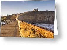 Tynemouth Priory And Castle From North Pier Greeting Card
