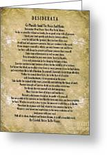 Typography Art Desiderata Poem On Watercolor Greeting Card