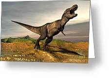 Tyrannosaurus Rex Dinosaur Walking Greeting Card