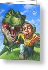 Tyrannosaurus Rex Jurassic Park Dinosaur - T Rex - Paleoart- Fantasy - Extinct Predator Greeting Card