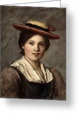 Tyrolean Dirndl With Straw Hat Greeting Card