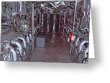 U S S Bowfin Submarine Engine Room Greeting Card