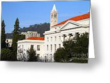 Uc Berkeley . Sproul Plaza . Sproul Hall .  Sather Tower Campanile . 7d10008 Greeting Card