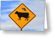 Ufo Cattle Crossing Sign In New Mexico Greeting Card